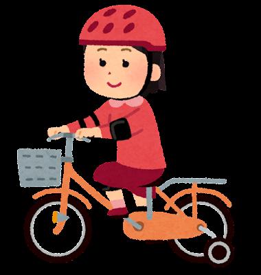 補助輪付き自転車に乗る女の子のイラスト