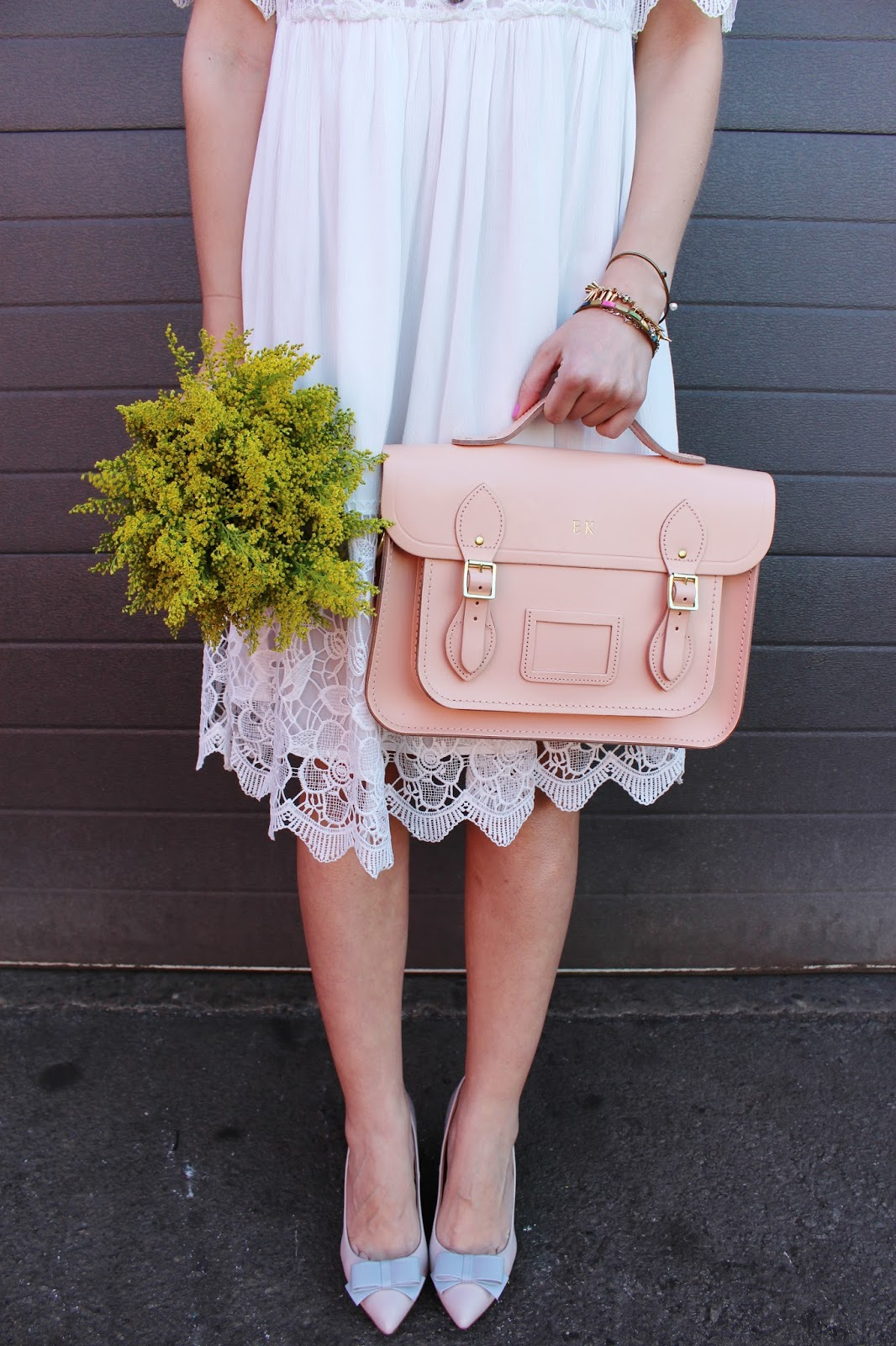 bijuleni - cambridge satchel, white lace dress and bow heels