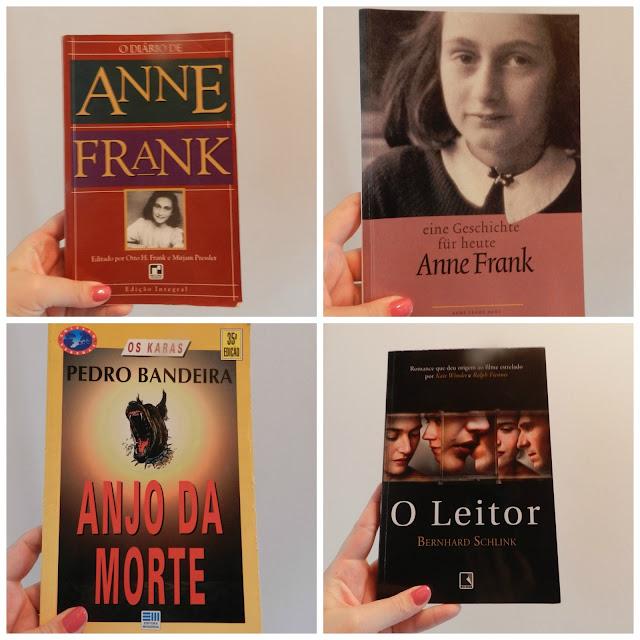 Livros O diário de Anne Frank, Anjo da Morte e O Leitor