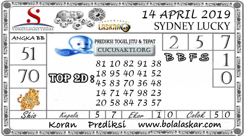Prediksi Togel SYDNEY LUCKY TODAY LASKAR4D 14 APRIL 2019