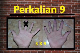 3 X 9 dengan jari = 27