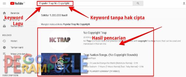cara mencari lagu tanpa hak cipta di youtube