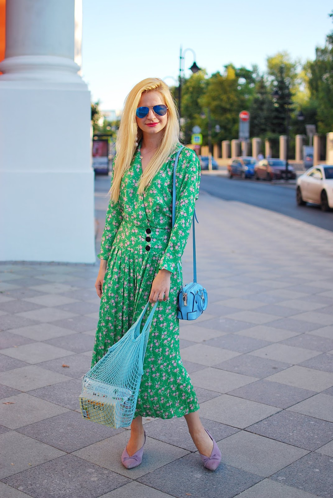 fashion street outfit with net bag how to wear