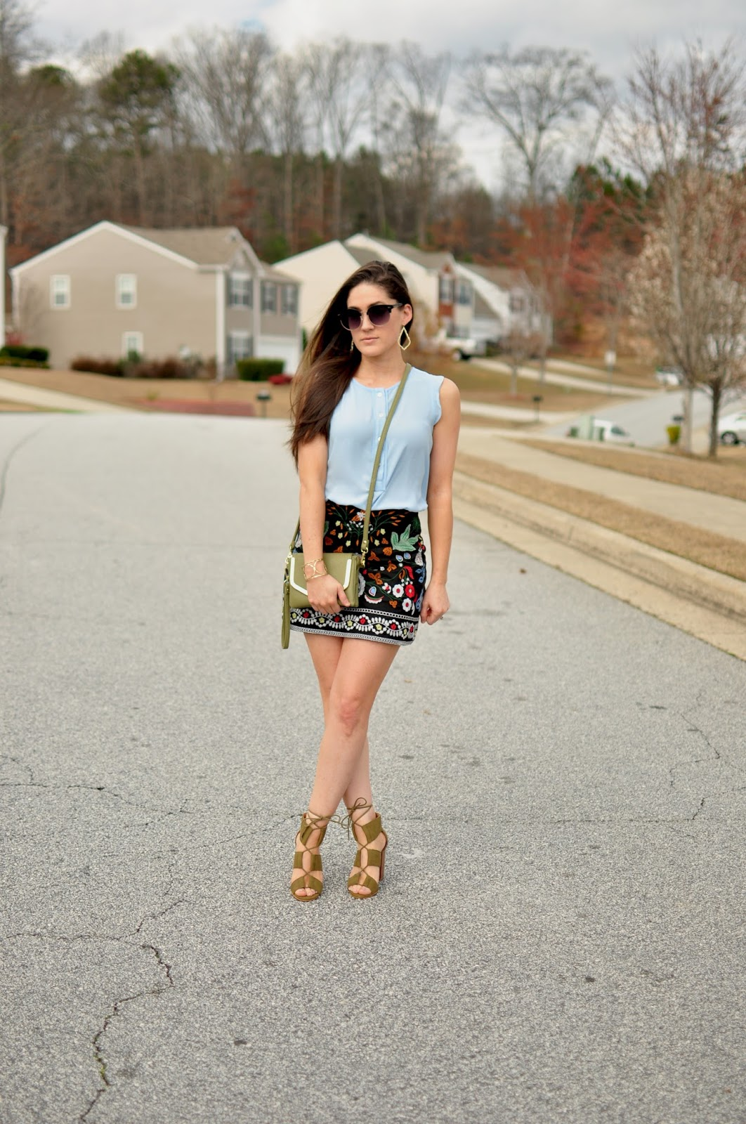 Embroidered Mini Skirt Shein