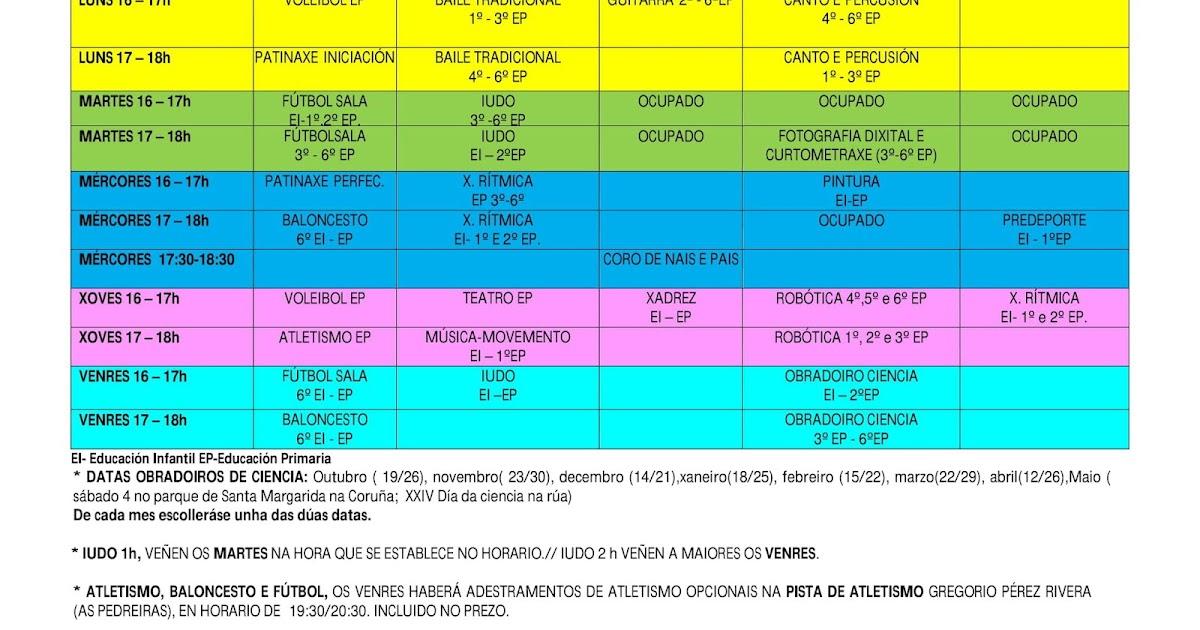 Illa Verde Cadro actividades 20182019