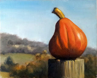 Oil painting of a pear-shaped pumpkin on top of a fence post with trees and hills in the distance.
