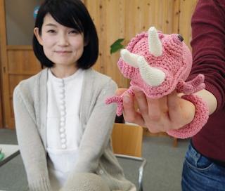 Jenn with Mrs. Tomoko Takamori's Chameleon Amigurumi