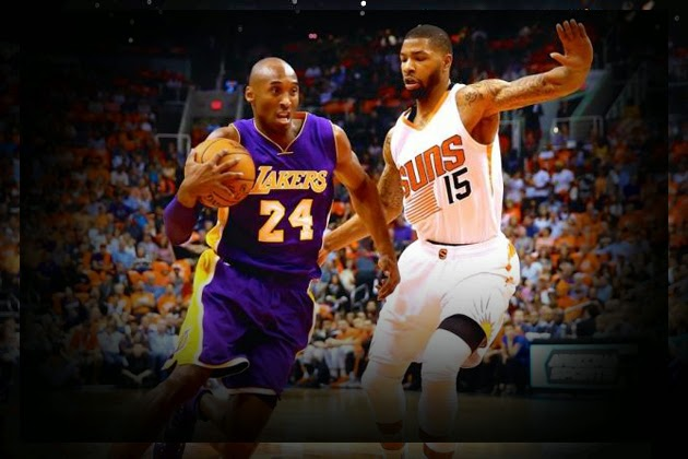 composite image of NBA game between Lakers and Suns