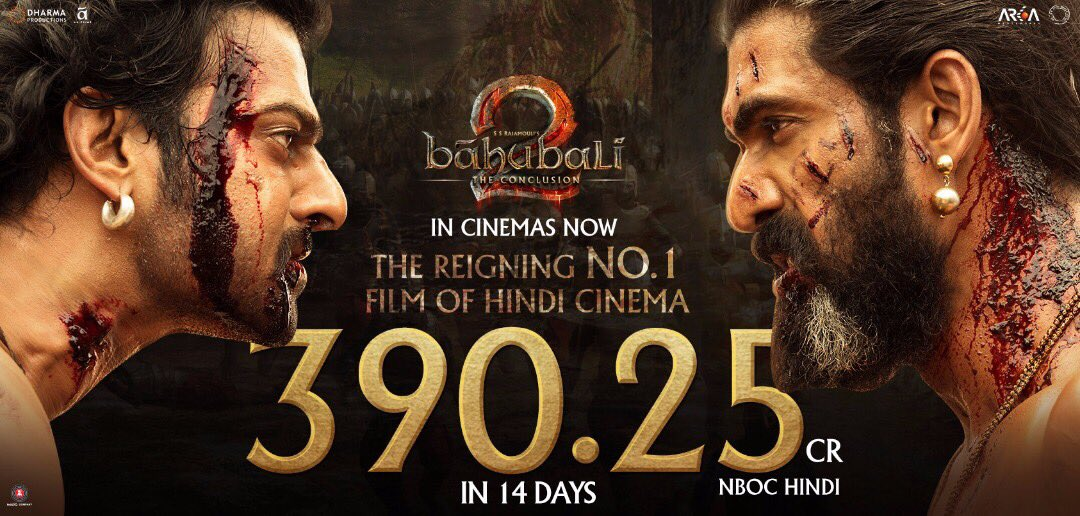 Bahubali 2 near to 400cr at Box Office after 14 Days
