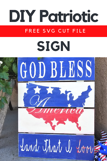 Make your own DIY patriotic wooden sign with God Bless America on it.  Perfect for showing pride for your country and decorating for the 4th of July.