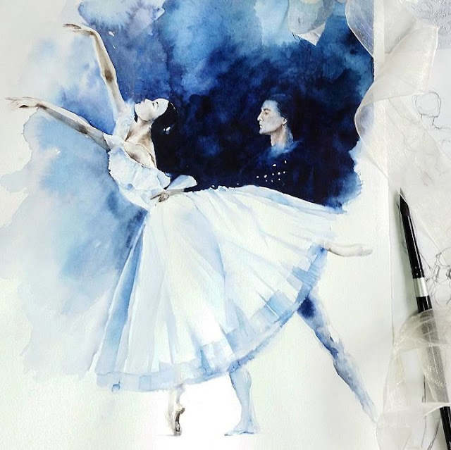 watercolor painting of a Balerina by Yulia She