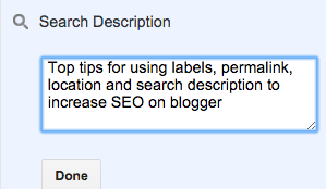 How to set your search description on blogger