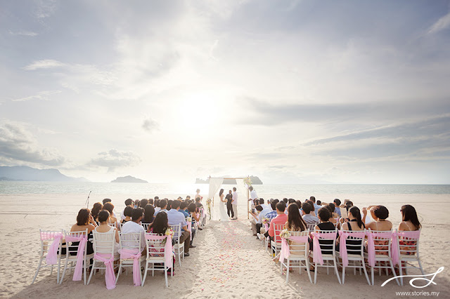 dramatic beach wedding