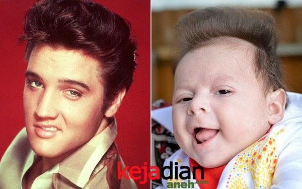 Foto Bayi bergaya seperti Elvis Presley