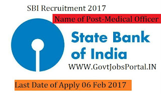 State Bank of India Recruitment 2017 –Medical Officer Post