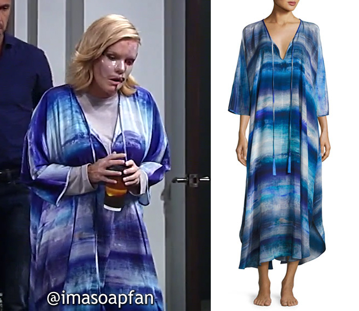 Ava Jerome, Maura West, Blue Abstract Print Caftan, General Hospital, GH