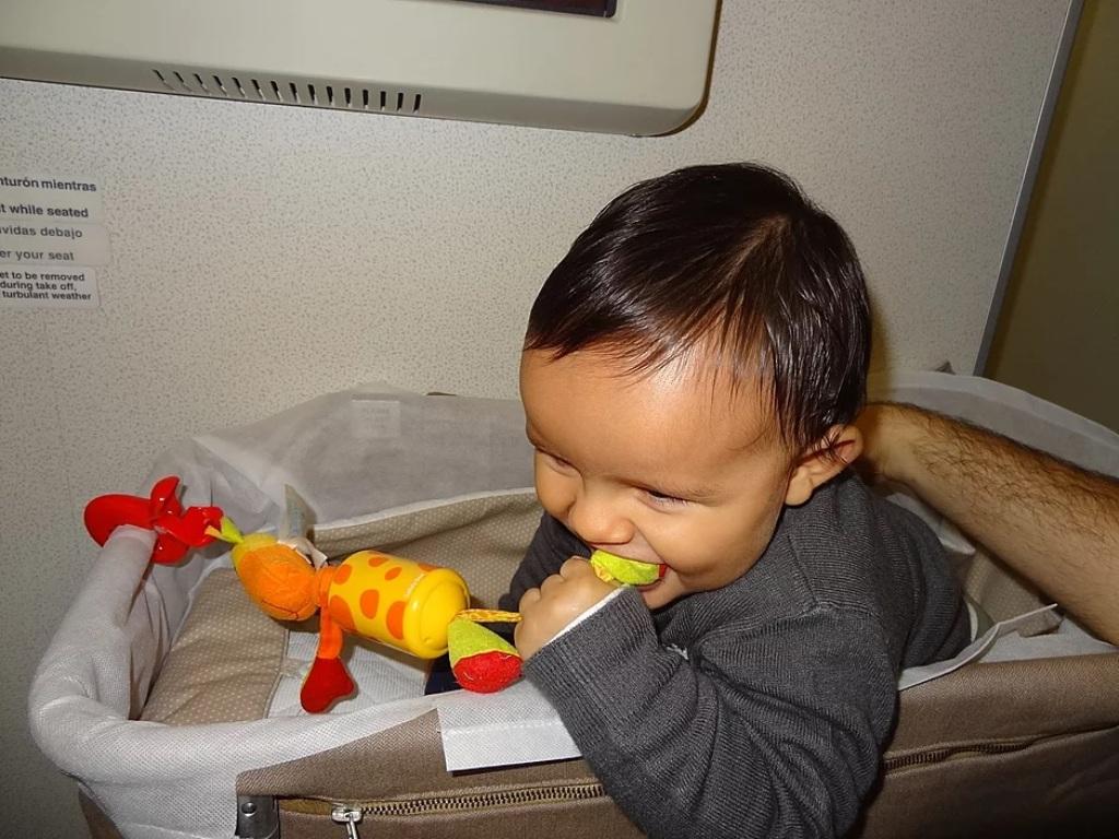João Pedro aos 8 meses viajando de avião