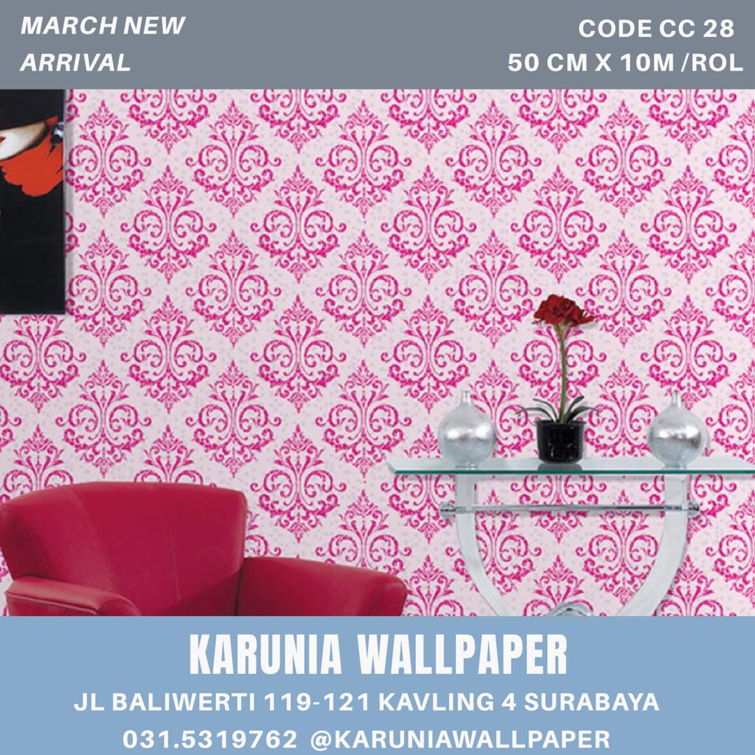 jual dinding wallpaper klasik pink surabaya