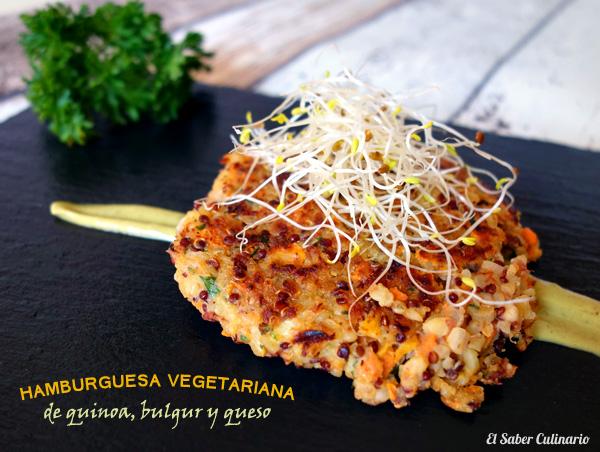 Hamburguesa vegetariana de quinoa y bulgur con queso feta