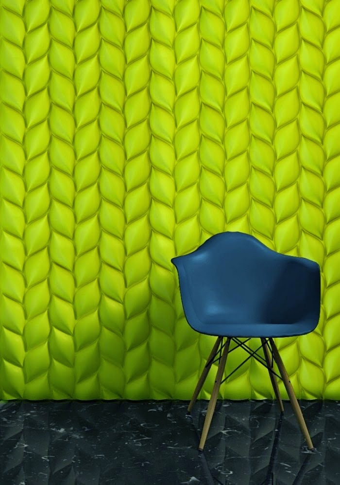 3D wall panels design in green color