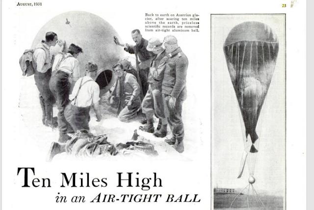 Matéria na Revista Science de 1931 sobre o feito de Piccard