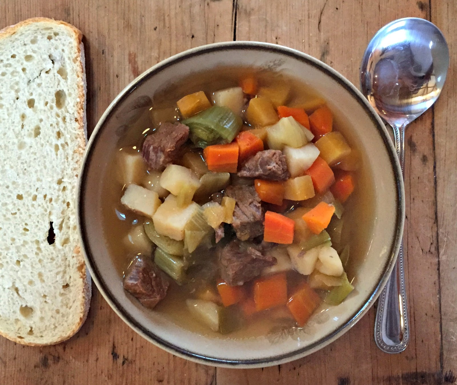 Bowl of Irish stew and bread