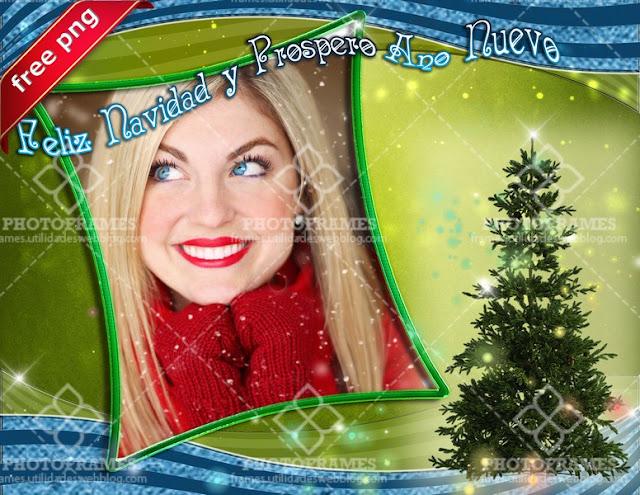 Marco para fotos navideño en color verde y azul - green christmas photoframe
