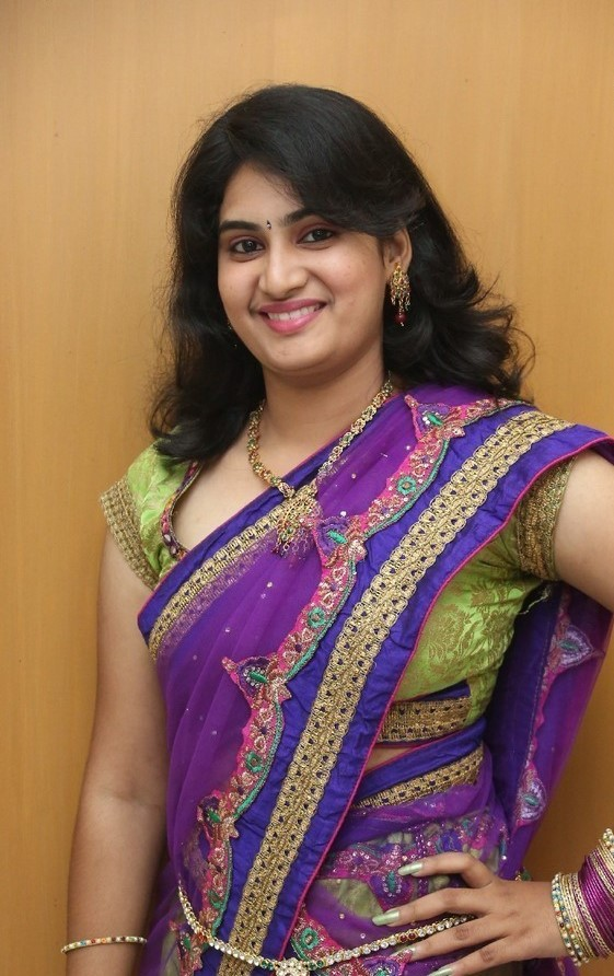 Actress Krishnaveni Long hair Stills In Blue Saree