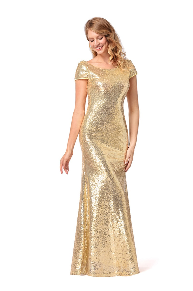 2018 New Women Evening Dress Sparkly Gold Mermaid Bridesmaid Dresses Short Sleeve Sequins Backless Long Beach Wedding Party Gowns