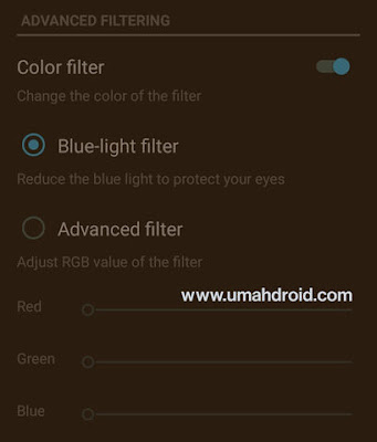 Advance Blue Filtering Android Screen