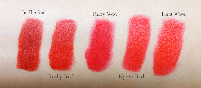 Matte red lipstick comparison swatch