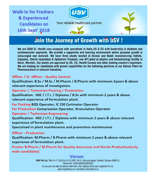 USV Pvt. Ltd Walk In For Freshers & Experienced For Quality Control, Production, Packing, Engineering on 16th Sept' 2018 @