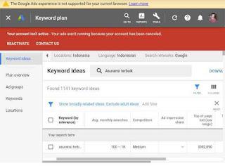 Riset kata kunci dengan keyword planner tools