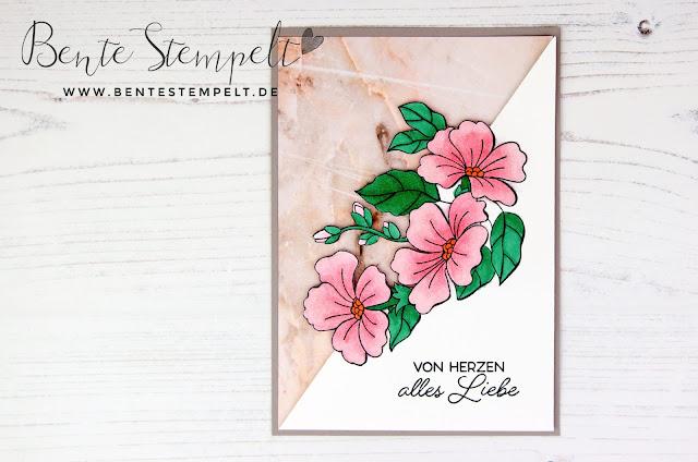 Stampin' Up! Bente Stempelt Stempelset Farbenfroh durch Jahr Farbenspiel der Jahreszeiten Marmor DSP Designerpapier gemustertes Papier Blütenpracht
