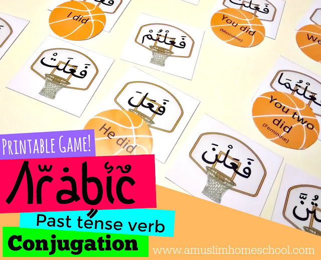 Learning the Arabic past tense verb conjugations with free printable game
