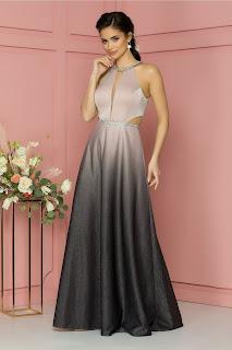 Rochie de nunta Valentina roz-gri in degrade