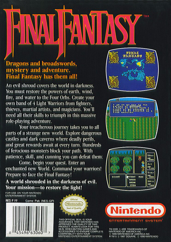 Final Fantasy 1990 back cover