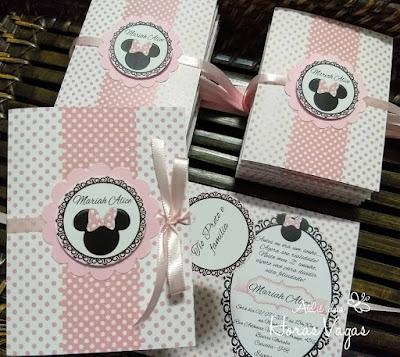 convite de aniversário infantil artesanal personalizado loja de laços minnie mouse disney poá rosa e preto