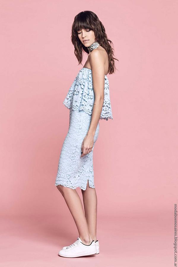 Vestido de encaje celeste pastel moda 2017 verano mujer argentina.