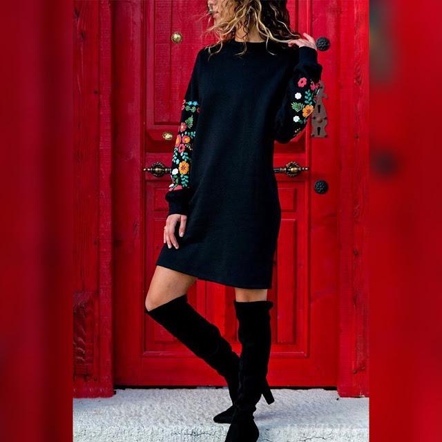 Μακρυμάνικο πλεκτό μαύρο φόρεμα AGATHA
