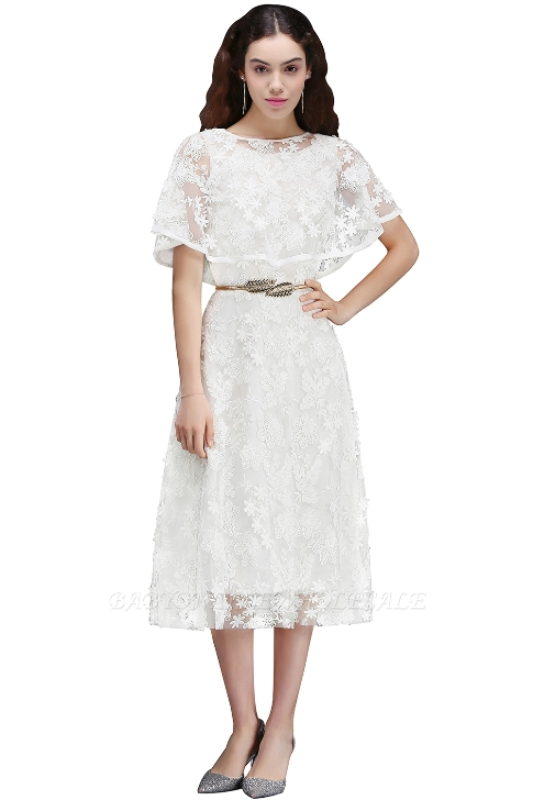 ANDREA | A-line Short Lace Homecoming Dress With Crystal-Price:US$ 82.99