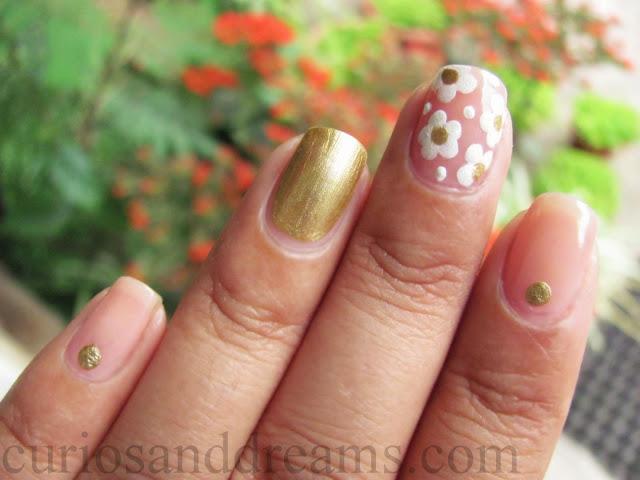 summer nail art, floral nail art, easy nail art, nail art