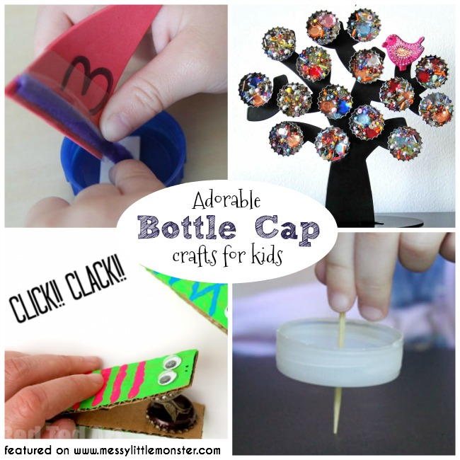 Bottle cap crafts for kids.  A collection of fun bottle top ideas for toddlers, preschoolers and older kids to make from bottle tops. Bottle cap DIY toys. Bottle cap boats, bottle cap magnets, bottle cap castanet crocodiles, bottle cap spinner and lots more.