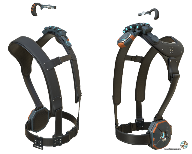 two body harnesses and radio headsets, 3-D modeled