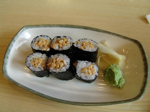 101 เมนูซูชิ ข้าวห่อสาหร่ายไส้นัตโตะหรือถั่วหมัก(Natto Maki)