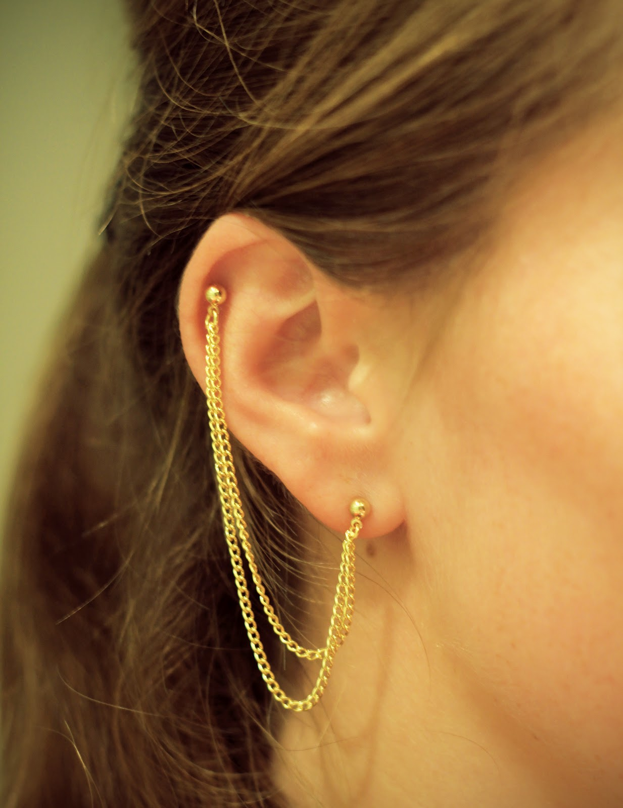 Diy Double Piercing Chain Earring