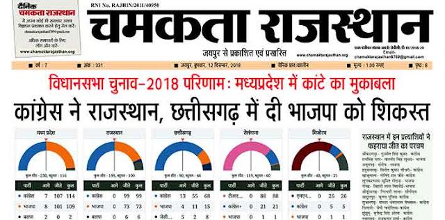 दैनिक चमकता राजस्थान 12 दिसंबर 2018 ई न्यूज़ पेपर