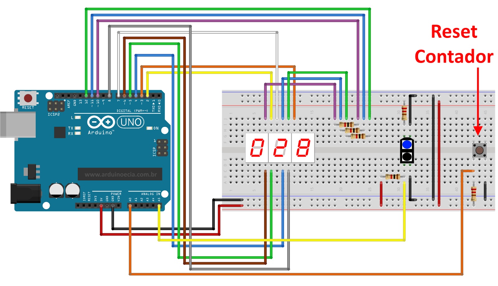 contador com botão de reset - display 7 segmentos