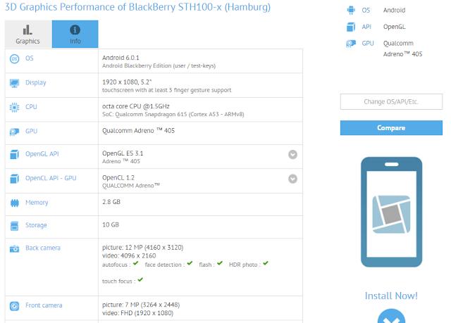 Blackberry Hanburg muncul di situs patokan GFXBench