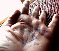 Mano con triángulos
